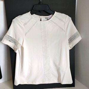New H&M white blouse top with lace Size XS